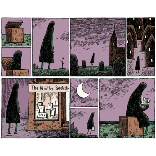 Ghostly reading / Lectura fantasmal (ilustración de Tom Gauld)