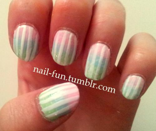 pastel gradient with stripes This is my first try at gradient nails, and I think they turned out quite pretty! I love this soft color combination, it's perfect for summer.