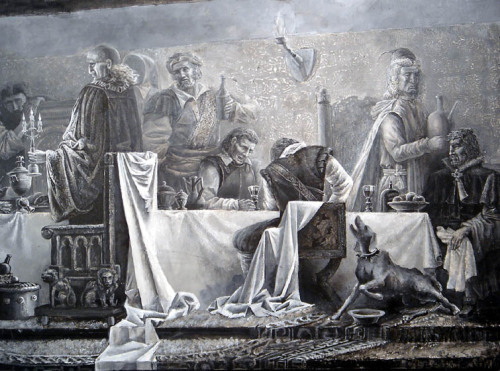 "The sketch ""The feast during a plague"". Fragment by Pavel Antipov"