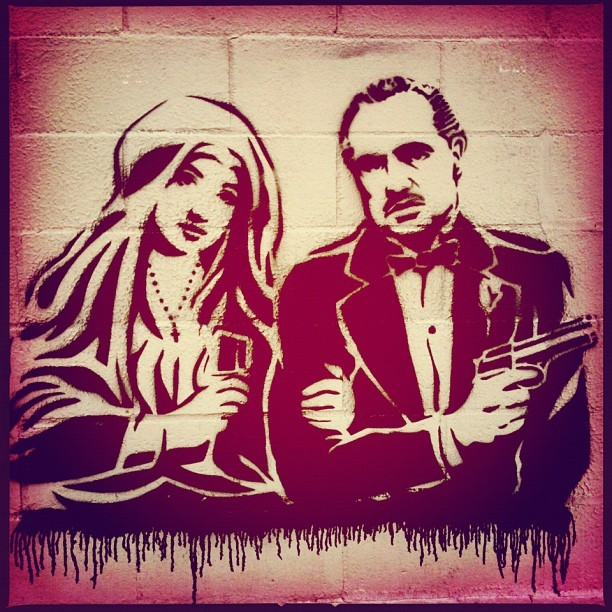 The Godfather and the Virgin Mary #streetart #brooklyn #nyc  (Taken with Instagram)
