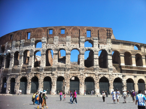 On my free self-guided tour of the ancient city. The Colosseum  Of course once I wanted to go into the colosseum it wast free anymore. But that's okay. How could you come to Rome and not go in??