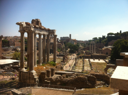 The Roman Forum. This is taken from outside, but with my colosseum ticket I was able to walk around. Too bad it is so hot because if not I could have spent all day inside!