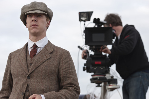 cumberbatchweb:  Parades End starts this Friday on BBC 2 at 9:00 p.m. and to celebrate we're hoping to have some exclusive photos of Benedict Cumberbatch in the series to show you and whet your appetite! First up is a behind the scenes picture of Benedict filming episode 1 - the scene where Christopher meets Valentine. Open in new tab for high res.