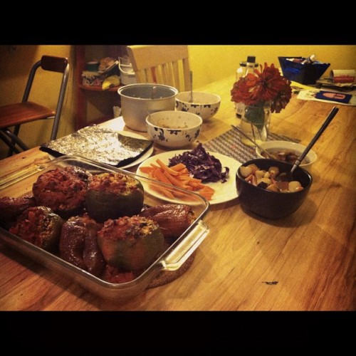 molassesinmyveins:  All of this food was perfect and totally random. Stuffed peppers, beets, and sushi making party.  Steph made all this like it was no big deal. She is probably one of the most beautiful ladies I've ever had the pleasure of meeting. You should probably follow her on tumblr and get in line to date her. (Not pictured was the tastiest lemon cake with lemon sorbet for dessert)  thanks friend. when are you moving in again?