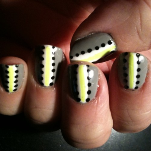 Sorta feel meh about these nails. Neon striped. #notd #neon #nailart #nails #nailartaddict #nailswag (Taken with Instagram)