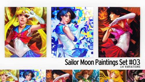 snowcrystalsims:  Sailor Moon Paintings Set #03 Another set of Sailor Moon-themed paintings, this time with art by K-BOSE. These are fairly large paintings. Bishōjo Senshi Sailor Moon is © Naoko Takeuchi. Art is © K-BOSE. Mesh by b5Studio. Download (View Variations) Sims3Pack + Package