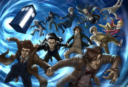 A bit of an anime-looking picture, but it's still awesome :) Smith, Tennant and Troughton are awesome xD