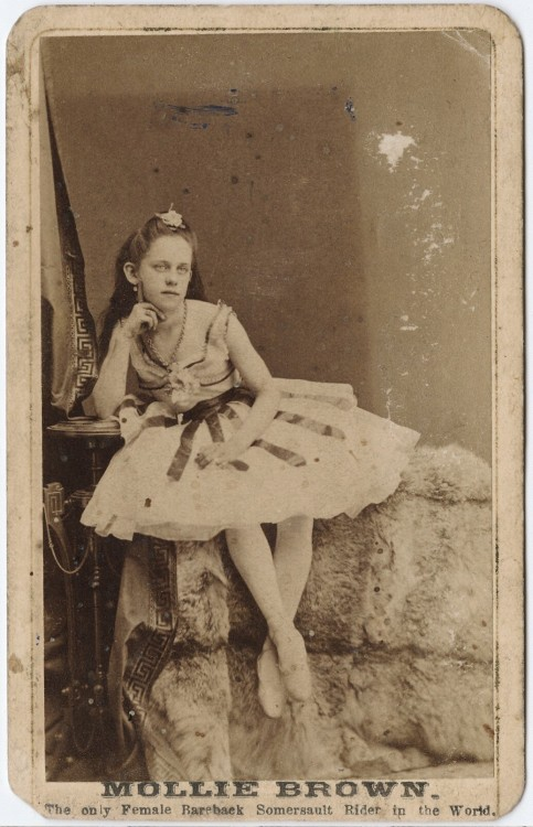 "tuesday-johnson:  ca. 1855-95, [carte de visite portrait of ""Little Molly Brown"", the only female bareback somersault rider in the world], Watkins' Yosemite Art Gallery via the Yale Collection of Western Americana, Beinecke Rare Book and Manuscript Library, Carl Mautz Collection"
