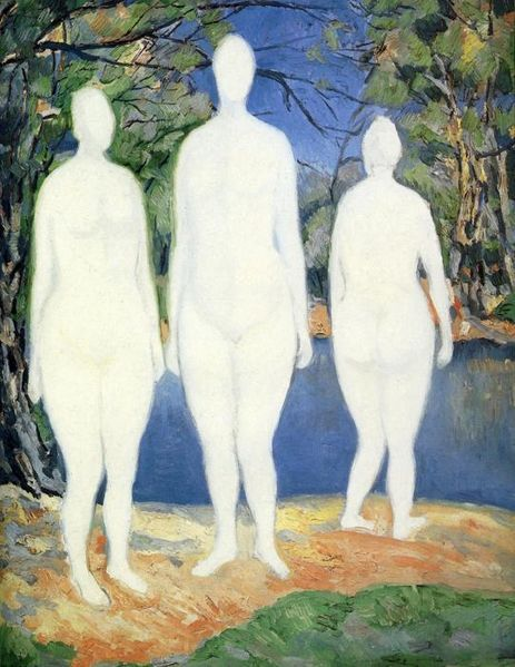 Bathers by Kazimir Malevich, 1908 There's something about this painting by Malevich that reminds me of a Cezanne piece with the same subject, though Cezanne painted many different versions of bathing scenes, with various colour schemes and compositions. But in this particular work by Cezanne, both painters use white and crisp light blues to create the bathing figures, and surround them in a patchy background of warm earthy colours. Yet Cezanne's bathers are dynamic and characterised: in contrast, Malevich's are faceless and still.  Four Bathers by Paul Cezanne, c.1888-90
