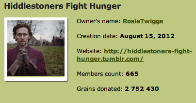 2.75 million grains of rice donated! So close to 3 million, we can almost taste it. So, so, so proud of you guys! Continue doing a fabulous job!   Keep donating, and follow us on Twitter!