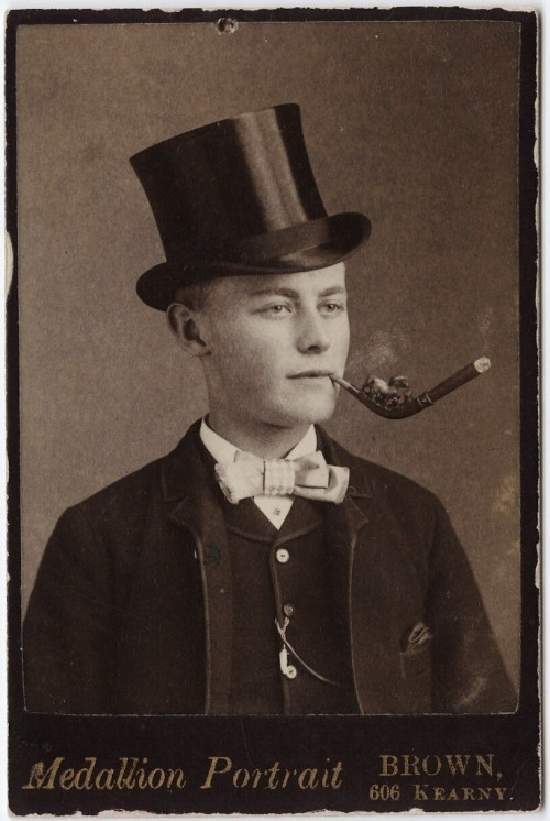 tuesday-johnson:  ca. 1855-95, [carte de visite portrait of a young gentleman in a top hat smoking an elaborate pipe], T.A. Brown via the Yale Collection of Western Americana, Beinecke Rare Book and Manuscript Library, Carl Mautz Collection  Cigar holder rather than a pipe, I believe.