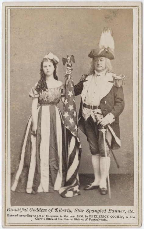 "ca. 1866, ""Beautiful goddess of liberty, Star Spangled Banner, etc"", [carte de visite portrait of a girl, dressed as Columbia, the American Flag, and a gentleman in a Revolutionary War costume], Frederick Coombs via the Yale Collection of Western Americana, Beinecke Rare Book and Manuscript Library, Carl Mautz Collection"