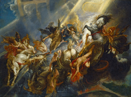 The Fall of PhaetonPeter Paul Rubens, c. 1604/1605, probably reworked c. 1606/1608National Gallery  Phaeton, Apollo's son, begged his father to allow him to drive the chariot of the sun across the sky. In the hands of the rash youth, who had neither the strength nor the experience to control the chariot, the horses bolted, scorching everything in their path with the sun's heat. The butterfly–winged female figures, personifying the seasons and hours, react in terror as the earth below bursts into flame. Even the great astrological bands that arch through the heavens are disrupted. To save the universe from destruction, Zeus, king of the gods, throws a thunderbolt, represented here by a blinding shaft of light. As the chariot disintegrates, Phaeton plunges to his death.