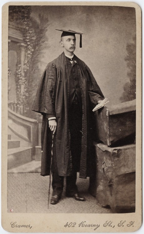 ca. 1855-95, [carte de visite portrait of a man in academic gown], Charles Lake Cramer via the Yale Collection of Western Americana, Beinecke Rare Book and Manuscript Library, Carl Mautz Collection