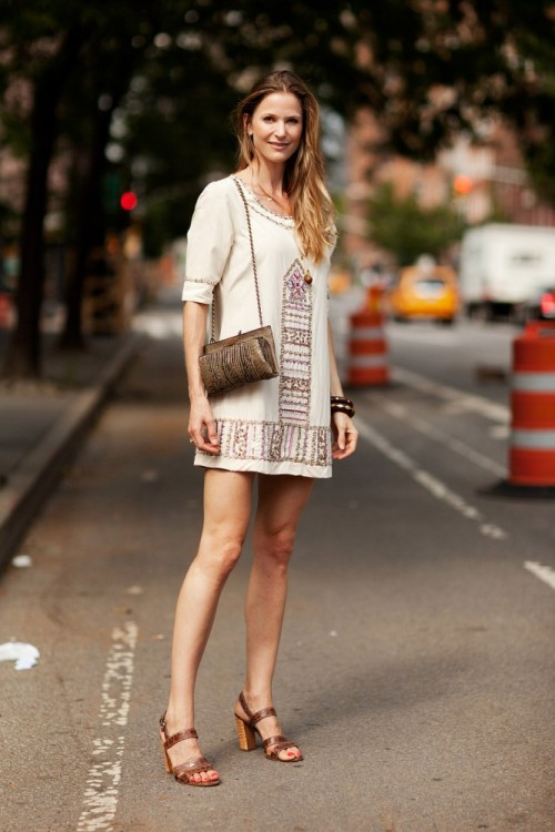 Annelise is stunning in a vintage dress and Prada shoes…New York City, NY (via Refinery29)