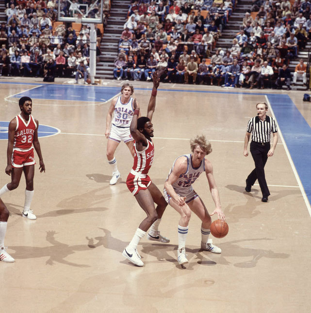 Indiana State forward Larry Bird tries to find an opening during a Jan. 1979 game against Southern Illinois. Three months later, Bird would lead the Sycamores to the national championship game, where they'd lose to Magic Johnson's Michigan State squad. (Rich Clarkson/SI) GALLERY: Larry Bird - The Indiana State Years | Classic Photos of Bird