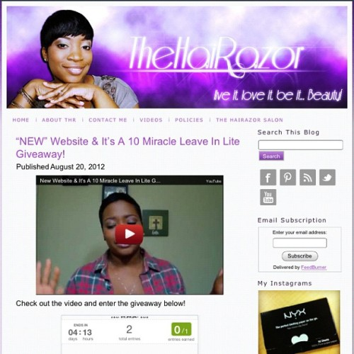 "Have you seen the the ""NEW"" site?! Check out the new TheHaiRazor.com and enter to win my latest giveaway! #thehairazor #beautyblogger #giveaway #beauty (Taken with Instagram at www.TheHaiRazor.com)"