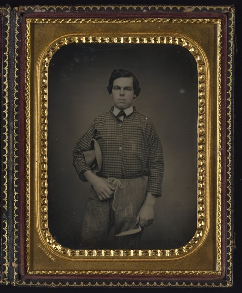 ca. 1859, [daguerreotype portrait of a brick mason holding a trowel], Thomas J. Higgins via Yale Collection of American Literature, Beinecke Rare Book and Manuscript Library,Peter Palmquist Cased Photographs Collection