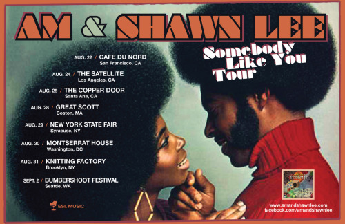 The tour starts this week!  AM & Shawn Lee on tour. More info HERE AM & Shawn Lee On TourAug 21     Special Guest DJ Set with AM & Shawn Lee @Fall Lounge LA, CAAug 22     KALX Presents: Cafe Du Nord, San Francisco, CA*Aug 24     The Satellite, Los Angeles, CA^Aug 25     Ubiquity Records Presents: The Copper Door, Santa Ana, CAAug 26     Fingerprints Instore 4pm Long Beach, CAAug 28     Ryan's Smashing Life Presents: Great Scott, Boston, MA#Aug 29     New York State Fair, Syracuse, NYAug 30     ESL Music Presents: Montserrat House, Washington, DCAug 31     Filter Presents: Knitting Factory, Brooklyn, NY$Sep 02     Bumbershoot, Seattle, WA*  opener Nino Moschella^  opener The One AM Radio, and Shanee Pink (of Pink & Noseworthy)#  openers Michael J. Epstein Memorial Library, and The Bynars$  openers Cold Blood Club, and Wishes And Thieves