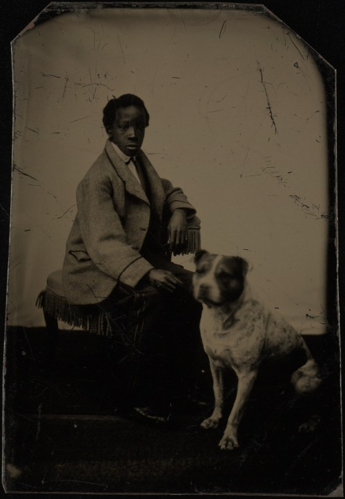ca. 1870, [tintype portrait of a boy sitting with his dog] via Yale Collection of American Literature, Beinecke Rare Book and Manuscript Library, Randolph Linsly Simpson African-American Collection