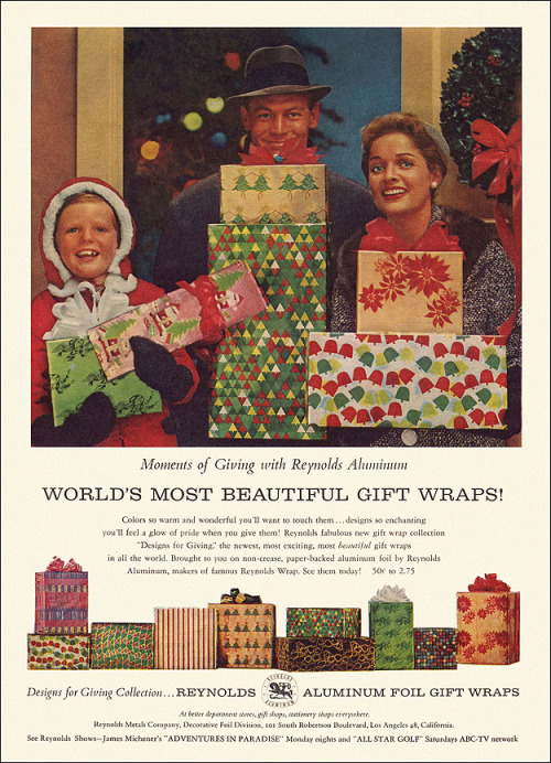 Reynolds Aluminum Christmas Ad, 1959  They bench-pressed giant rolls of foil all year to be ready for this moment! From the December issue of Sunset magazine.