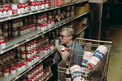 "AMAZING photograph of ANDY WARHOL ""Hoarding"" Campbell's Soup Cans at the grocery store….maybe he was just getting prepared of the ""APOCALYPSE!""??!?…. :D"