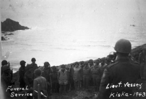 Funeral at Kiska, 1943. Canadian Lt. Sid Vessey of the Rocky Mountain Rangers, killed by land mine.