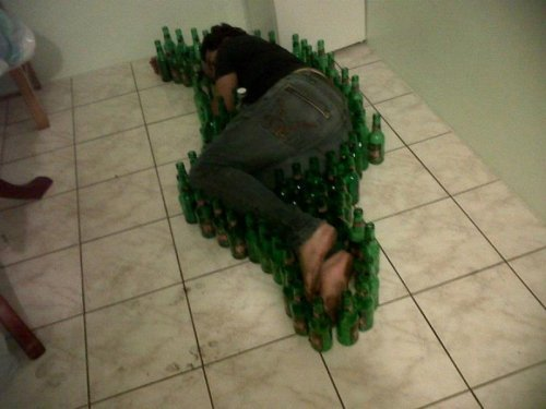collegehumor:  Sleeping Guy Surrounded by Beer Bottles A fallen soldier surrounded by fallen soldiers.