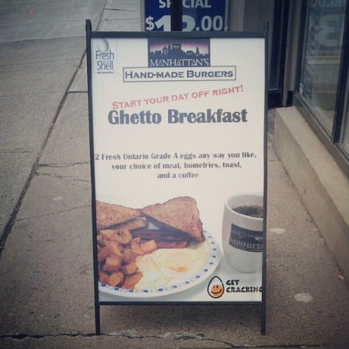 "Manhattan's I love your grilled cheese and poutine but the ""ghetto breakfast"" hurts my feelings. (Taken with Instagram at Manhattan's Hand-Made Burgers)"