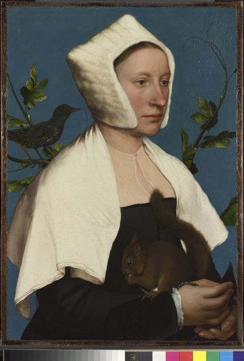 Story of British art: Hans Holbein's Lady with a Squirrel and a Starling. Click on the link for more info about the painting