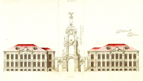 Proposal by Francesco Rastrelli for a baroque palace in Rundale, Latvia. (executed without the portal tower, sadly)