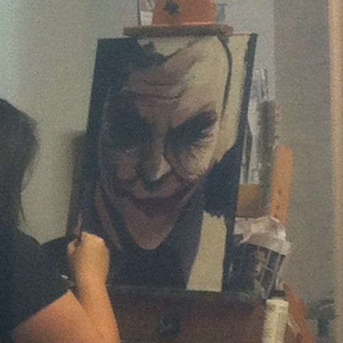 She kills it. #NoFilter #joker #painting #batman  (Taken with Instagram)