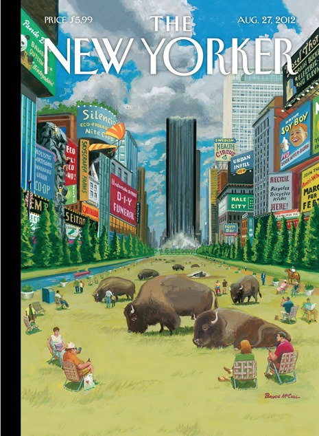 I can't help myself, another New Yorker cover with a cityscape. newyorker:  Cover of the Aug. 27, 2012 issue. Click-through for the story behind the cover from its creator, Bruce McCall: http://nyr.kr/OsLz1q