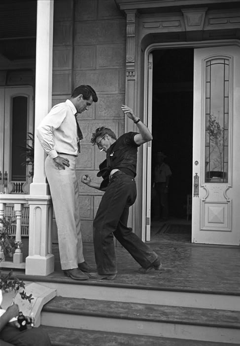 "cmbeer:  Giant. 1955. James Dean and Rock Hudson. ""Hope you're going to pull that punch, Jimmy."""