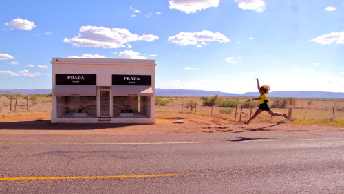 Bey visits Prada Marfa. Dream trip.