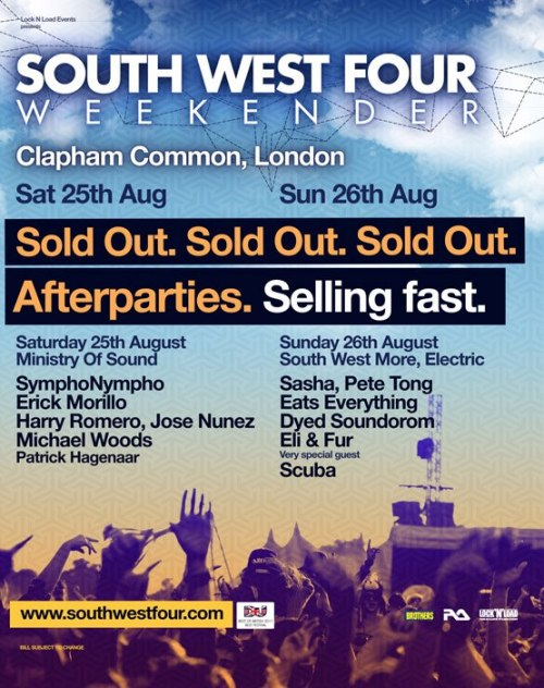 SW4 Festival - Preview Putting aside the fact that SW4 has notoriously bad sound (because that's what everyone loves to complain about), it is actually a very well thought out, well prepared festival that I for one am looking forward to. I am only attending the Sunday this year, as with last year, and again you will probably get those that will cast an opinion without listening over the days and blanket them as 'the shit day' or 'the good day'. The Sunday line up, looks, incredible. I am going to have a hard time choosing what to attend based on the different genres that are there. It will be a complete toss up between what I attend simply to see how funny it is, or what I actually want to see. A lot of this will fall down to how I feel on the day. Main Stage SkrillexPublic Enemy [The 25th Anniversary World Tour - UK festival exclusive]Skream & Benga feat Sgt Pokes & YoungmanDiploDJ FreshCrookersForeign BeggarsRudimental+ very special guest: Steve AngelloThere are a few stand out names here. Benga & Skream always bring it when they play live; fuck the haters that say Skream has lost it or only makes brostep, his sets are unpredictable and if Benga steers clear of any Example vocals the set could be a winner. Skrillex is the other act that everyone is obviously keen to see and I have to admit I have warmed to the fucker - the crowd are going to lap this up and I want to be a witness to what will go down.DJ MAGAZINE ARENA HOSTED BY TOGETHER IN ASSOCIATION WITH VIEW LONDON2 Many DJs (DJ set)Eric PrydzSimian Mobile DiscoErol AlkanGreen VelvetBrodinski & Gesaffelstein B2BJeremy OlanderFehrplayLiam D This is where it becomes challenging. I have seen these acts before and I know how good they are. Erol Alkan at Creamfields 2 years ago, SMD at Reading a few years back, 2 Many DJs at Bugged Out weekender… all easy slot nicely into place as the best electronic music acts I have seen behind The Prodigy at Brixton Academy back in 2006.  ALL GONE PETE TONG ARENA IN ASSOCIATION WITH PULSE RADIOSashaSeth TroxlerMaya Jane ColesDyed SoundoromEats EverythingJaymo & Andy GeorgeJesse James & Johnny Bloomfield Big Tech-House names on here, but with the Bugged Out at Field Day providing a lot of my Tech-house fill, and Eastern Electrics topping me off, the only draws at this tent is Maya Jane Coles and Seth Troxler who I am yet to see in a state that I can remember. Huge clashes with other stages though and these will probably take a back seat.RAM 20TH ANNIVERSARY IN ASSOCIATION WITH DRUM & BASS ARENA & GET DARKERAndy C AliveFlux PavilionJack BeatsBorgoreFrictionDelta HeavyLoadstarDoctor PDillon Francis Absolutely no time for this tent with the exception of Bro-gore & Jack Beats. I completely forgot that Doctor P and Flux Pavillion were still going! I think this will be the busiest tent of the day… If you're going, who are you looking forward to seeing? …and SW4 doesn't tickle your fancy, or if you are looking for a night out before, stay tuned as I will post up a couple of nights happening here in the capital.