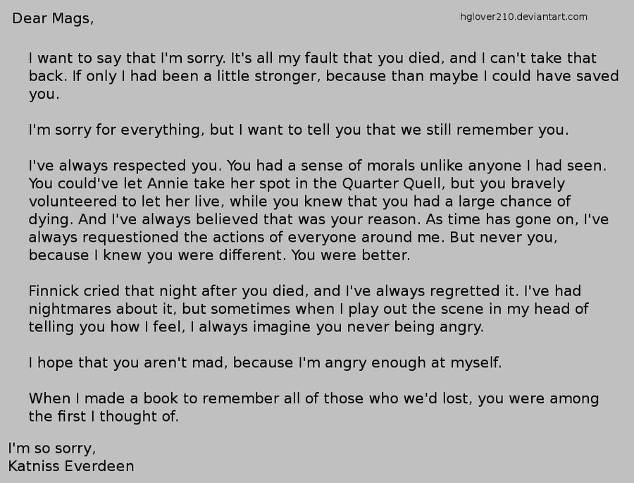 Katniss's letter to Mags by ~hglover210 This is so sad.