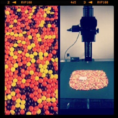 Scanning Reeses Pieces today…I swear to god this is a real job…  (Taken with Instagram)