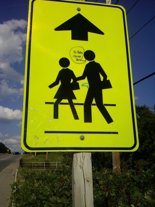 Sign at a cross-walk on Rossland