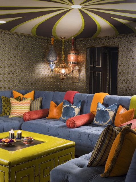 colorful and eclectic media room