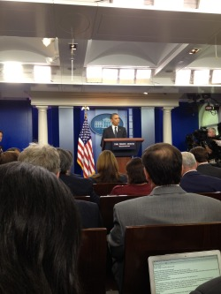 The president decided to make a surprise appearance at today's press briefing. (Olivier Knox)