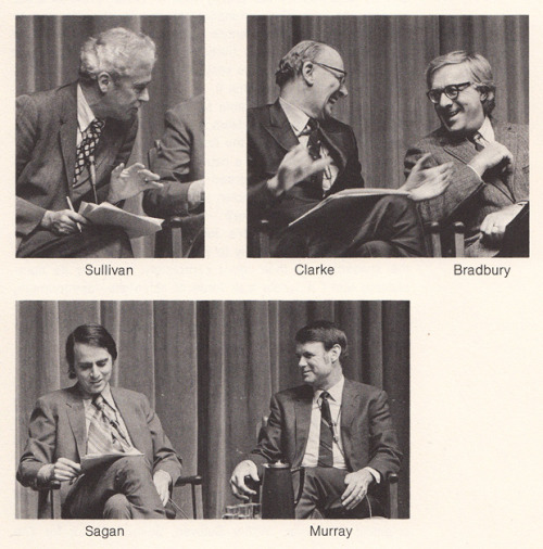 project-argus:  Walter Sullivan, Arthur C. Clarke, Ray Bradbury, Carl Sagan, and Bruce Murray: Mars and the Mind of Man (via Brain Pickings)