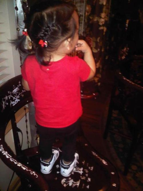 My goddaughter with them Jordans ;)Submitted by everybodylovesaimee.