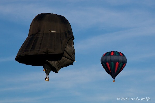 Darth Vader Hot Air Balloon Sadly, we couldn't find any pics of an actual Death Star hot air balloon, but here's a painting of one.  (via Geeks Are Sexy, Andi Wolfe)
