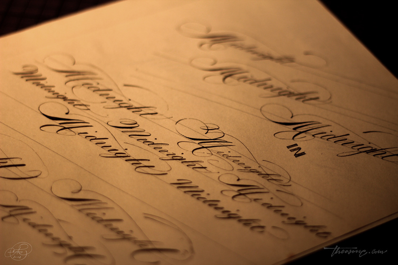 calligraphi.ca - sketches for a logo in spencerian script - leonardt principal nib and Encre autentique ink on an old paper - theosone