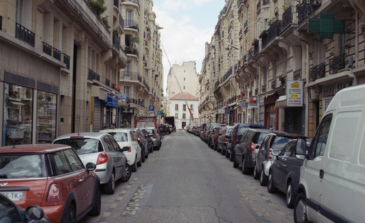 Road Near Port d'Orleans / Paris, France.Pentax ME w/ 50mm f/1.7 lens / Kodak Gold 100 (expired) / Epson V500.Summer 2012.