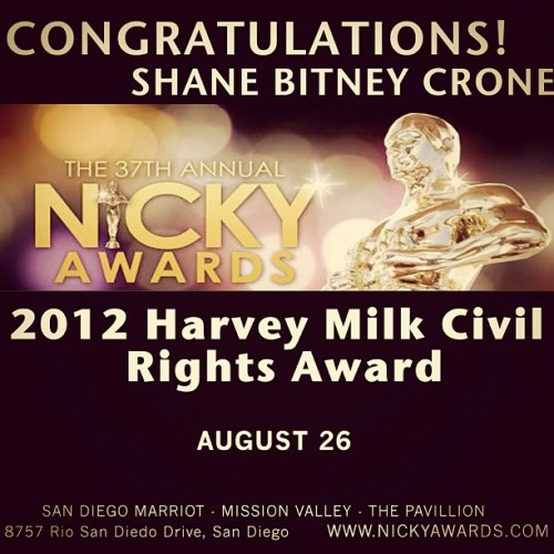 I just found out that I've been selected to receive the 2012 Harvey Milk Civil Rights Award, which will be presented at the 37th Annual Nicky Awards in San Diego. This is an incredible honor and this would not have happened without your support. Thank you! #HarveyMilk #NickyAwards #EqualLoveEqualRights CC: @jcr_12 (Taken with Instagram)