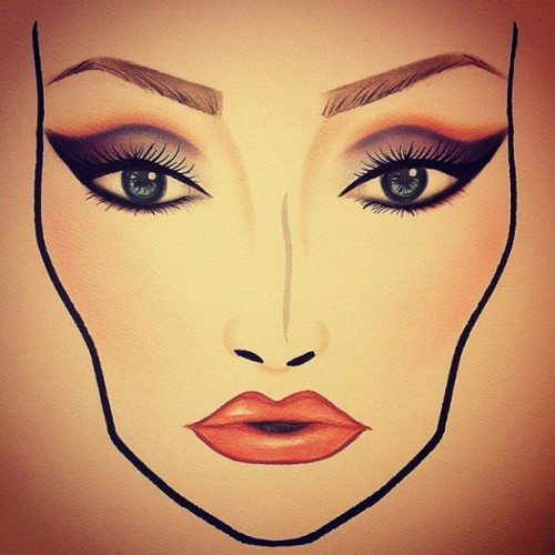 Playing with a dramatic beauty look today at work 🎨 #maccosmetics #makeupartist #makeup #facechart #art #lifeofanartist #ilovemaciggirls  (Taken with Instagram)