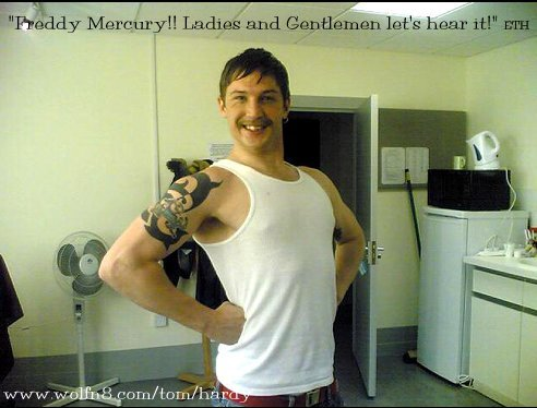 One of my favourite Tom Hardy self-pics: Tommy likens himself to Freddy Mercury. And looks incredibly silly, yet strangely hot.