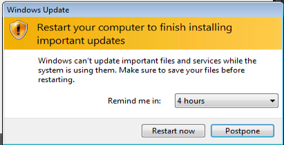 "This Windows 7 update dialog is a great example of poor UX design.  It pops up far to regularly by default and when you change the ""Remind me in:"" value, you cursor is hovering over the ""Restart now"" button 9/10 which leads to—at best—a hesitation as you move the ""Postpone"" button or—at worst—an accidental restart of the entire system."